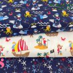 11-telas-de-punto-estampadas,punto-camiseta-estampado,punto-sudadera-estampado,french-terry-estampado,Punto Camiseta Jersey Estampado Piratas fondo Blanco,Punto Camiseta Jersey Estampado Estrellas de Mar