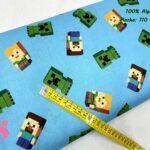 8-telas-estampadas-calaveras,tela-estampado-catrinas,telas-calaveras-mejicanas-de-algodón,telas-de-moda,Tejido Estampado Patch Americano Minecraft fondo Celeste