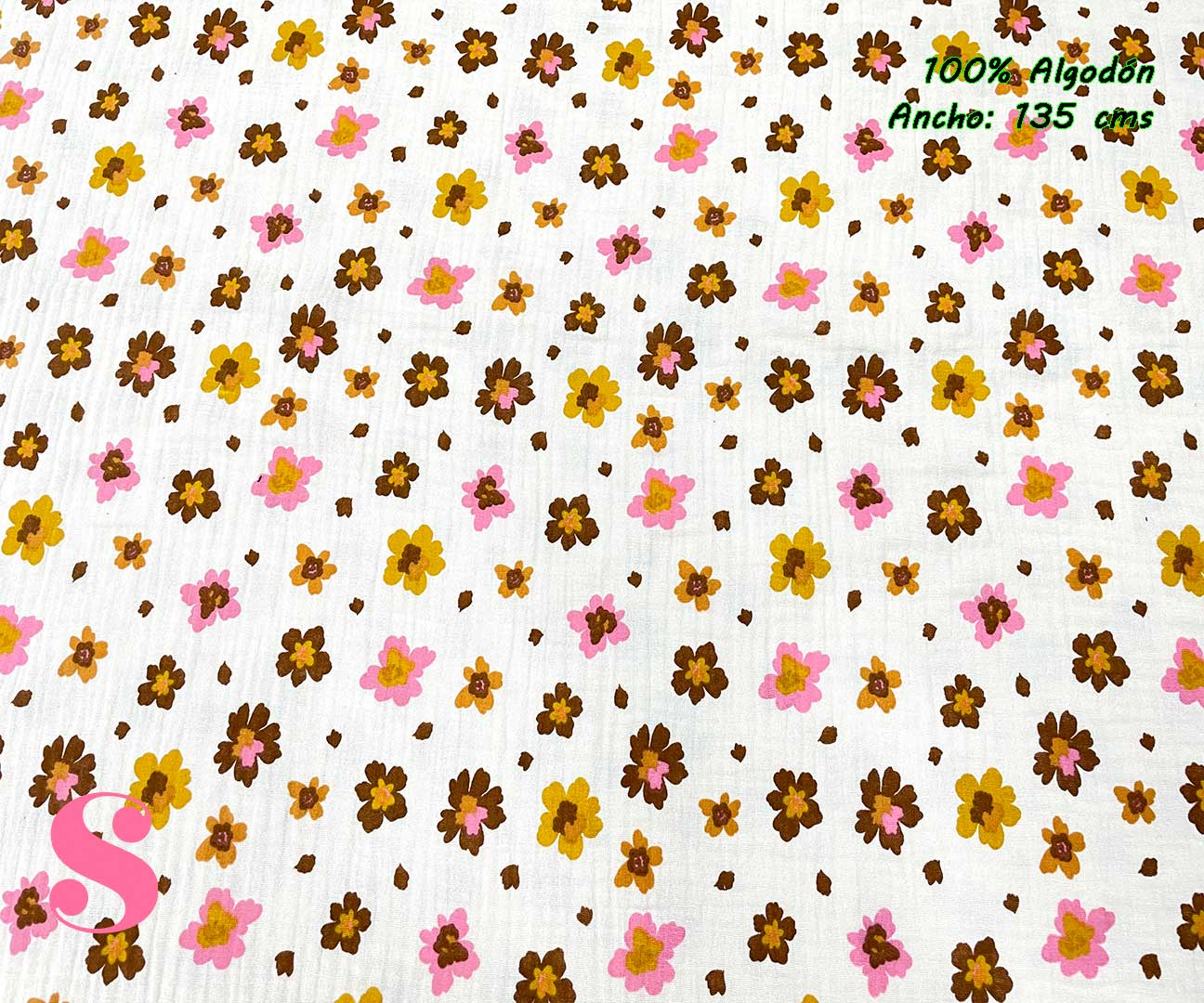 11-telas-de-primavera-infantiles,-estampados-infantiles-primaverales,-tela-arcoiris-de-algodón,tela-doble-gasa,Doble Gasa Muselina Florecitas