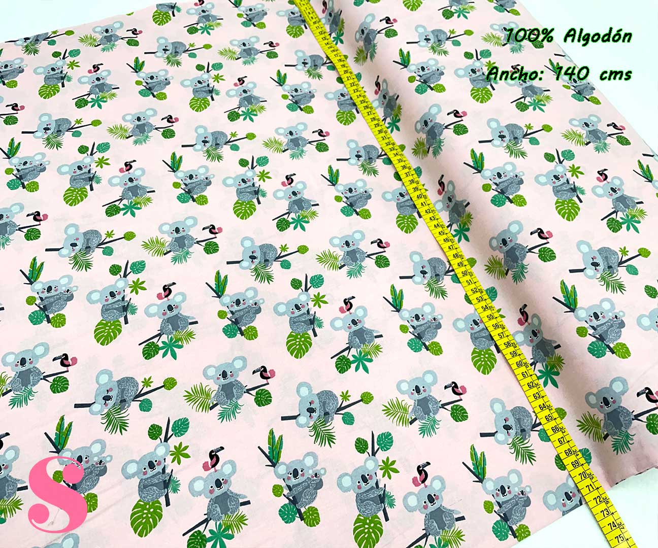 14-telas-estampadas-animales,telas-con-estampados-de-primavera,telas-con-estampados-koalas,telas-infantiles,Tejido Estampado Koalas