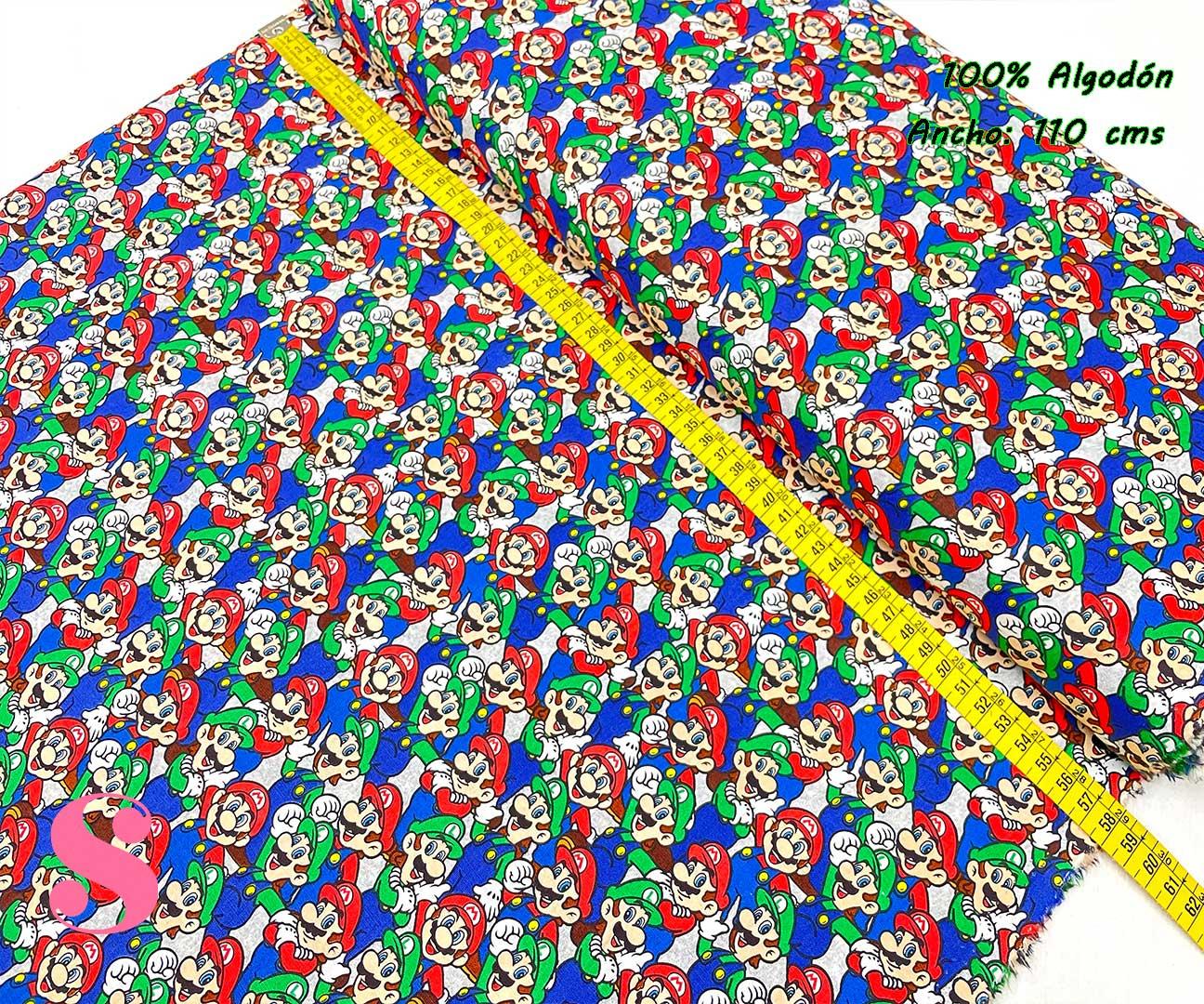 11-telas-estampadas-calaveras,tela-estampado-catrinas,telas-calaveras-mejicanas-de-algodón,telas-de-moda,Tejido Estampado Patch Americano Mario y Luigi