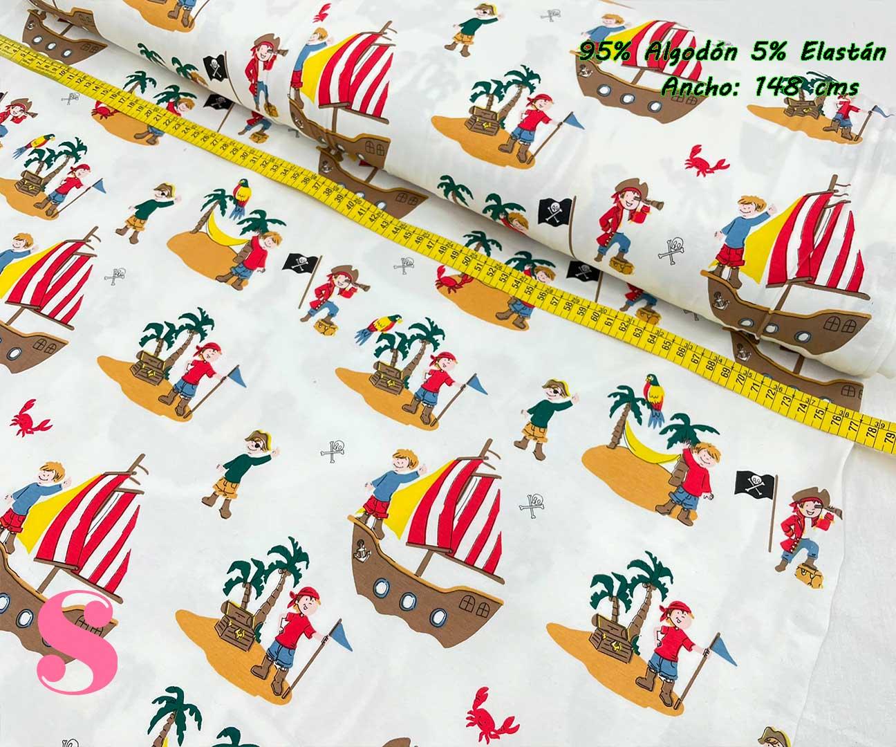 11-telas-de-punto-estampadas,punto-camiseta-estampado,punto-sudadera-estampado,french-terry-estampado,Punto Camiseta Jersey Estampado Piratas fondo Blanco