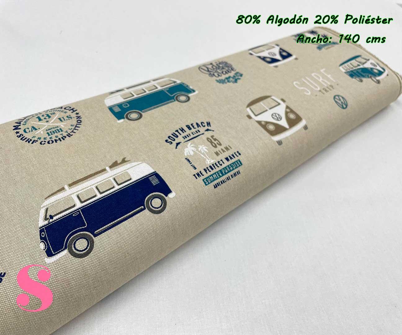10-telas-de-verano,-telas-de-exterior,-telas-de-loneta-por-metros,-telas-duras,-telas-de-amor-con-alma,telas-con-alma-y-amor,Half Panamá Estampada Wolkswagen California Surf Azul