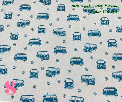 15-telas-de-verano,-telas-de-exterior,-telas-de-loneta-por-metros,-telas-duras,-telas-de-amor-con-alma,telas-con-alma-y-amor,Half Panamá Estampada Furgoneta Wolkswagen Azul