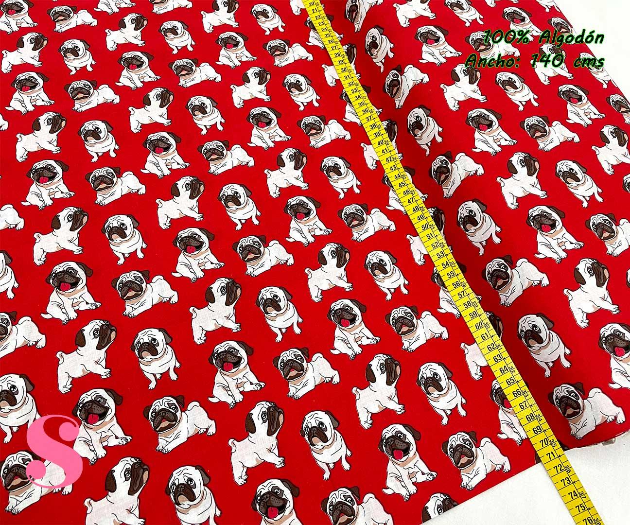 15-telas-estampadas-animales,telas-con-estampados-de-primavera,telas-con-estampados-koalas,telas-infantiles,Tejido Estampado Carlino fondo Rojo