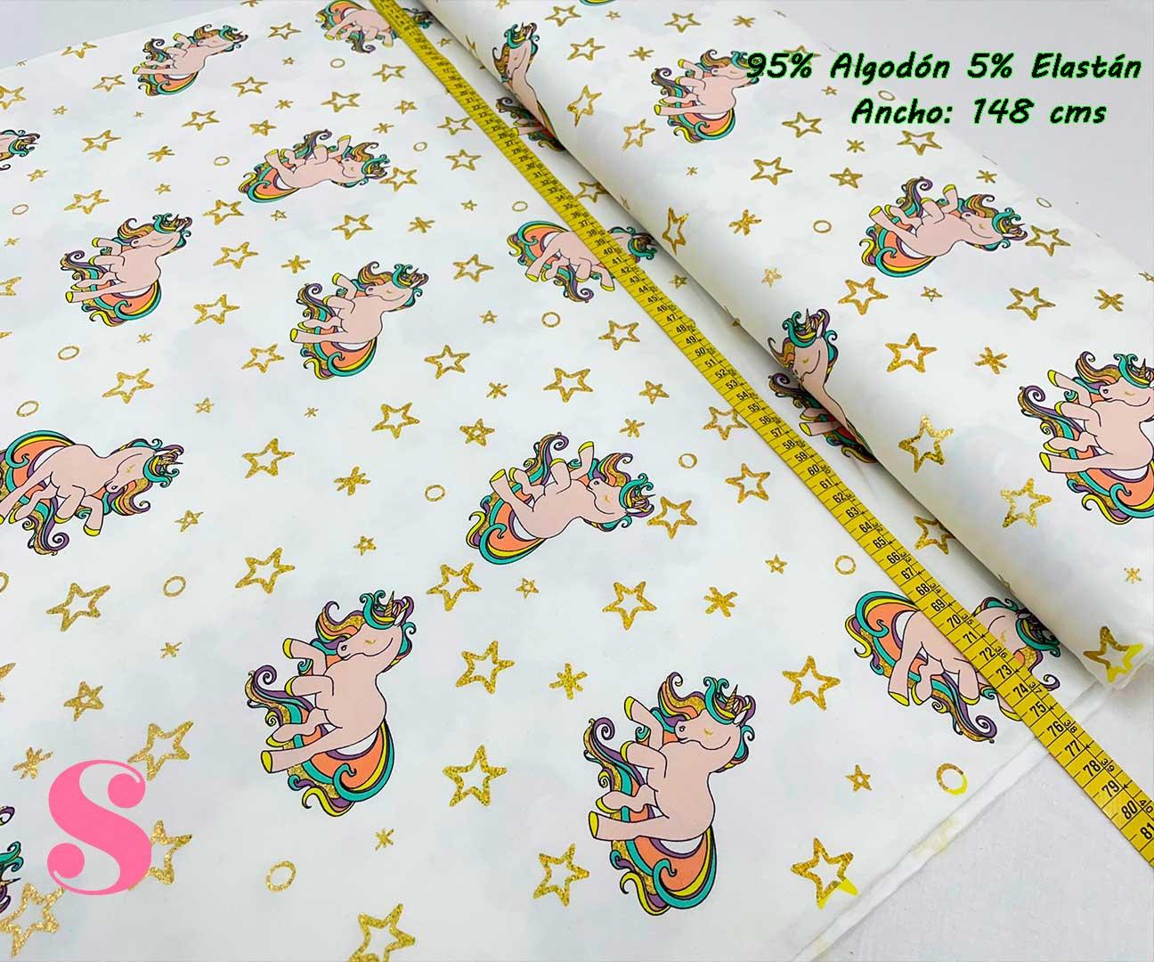 16-telas-de-punto-estampadas,punto-camiseta-estampado,punto-sudadera-estampado,french-terry-estampado,Punto Camiseta Jersey Estampado Unicornio Estrellas