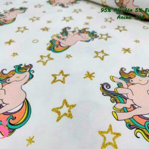 778 Punto Camiseta Jersey Estampado Unicornio Estrellas