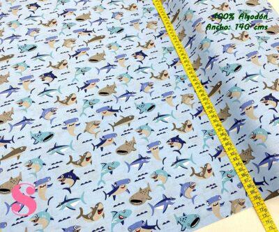 18-telas-estampadas-animales,telas-con-estampados-de-primavera,telas-con-estampados-koalas,telas-infantiles,Tejido Estampado Tiburones