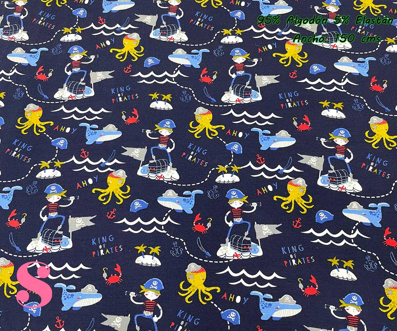 20-telas-de-primavera-infantiles,-estampados-infantiles-primaverales,-tela-arcoiris-de-algodón,tela-doble-gasa,Punto Camiseta Estampado Piratas