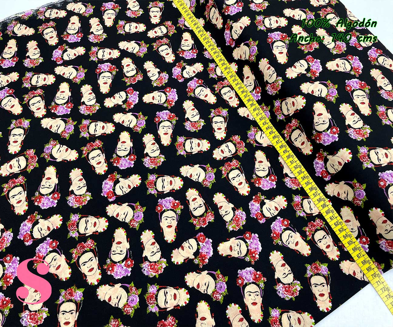 21-telas-estampadas-de moda,telas-con-estampados-de-primavera,telas-con-estampados-frikis,telas-juveniles,Tejido Estampado Frida fondo Negro