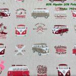 18-telas-de-verano,-telas-de-exterior,-telas-de-loneta-por-metros,-telas-duras,-telas-de-amor-con-alma,telas-con-alma-y-amor,Half Panamá Estampada Furgoneta Wolkswagen Roja & Granate