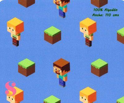 4-estampados-originales,telas-con-estampados-originales,telas-frikis,estampados-frikis,telas-super-mario,Tejido Estampado Patch Americano Minecraft fondo Azul