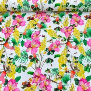 774 Punto Camiseta Jersey Estampado Flores Tropicales