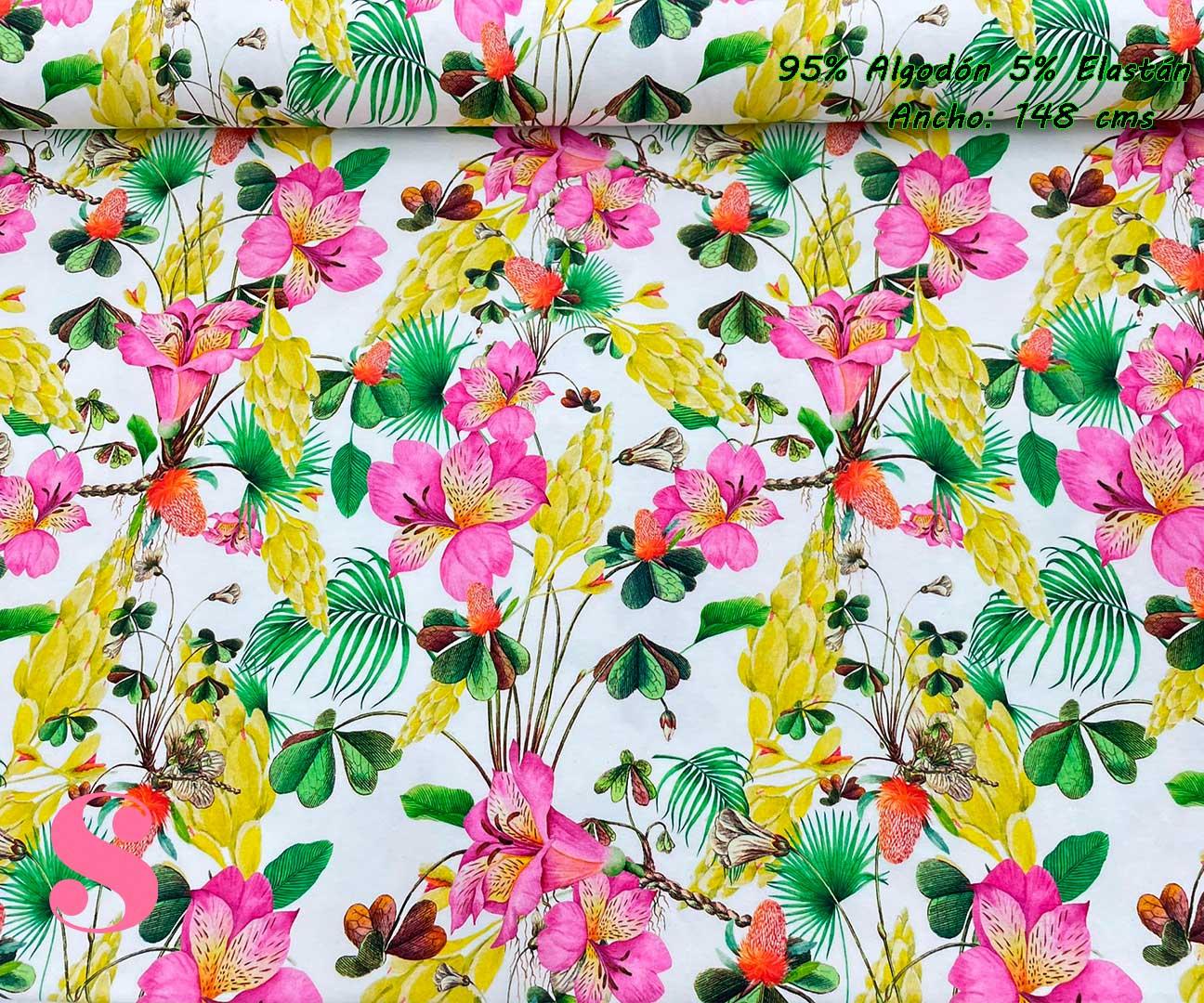 4-telas-de-punto-estampadas,punto-camiseta-estampado,punto-sudadera-estampado,french-terry-estampado, Punto Camiseta Estampado Flores Tropicales