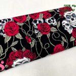 4-telas-estampadas-calaveras,tela-estampado-catrinas,telas-calaveras-mejicanas-de-algodón,telas-de-moda,Patch Americano Rose & Hubble Rosas y Calaveras