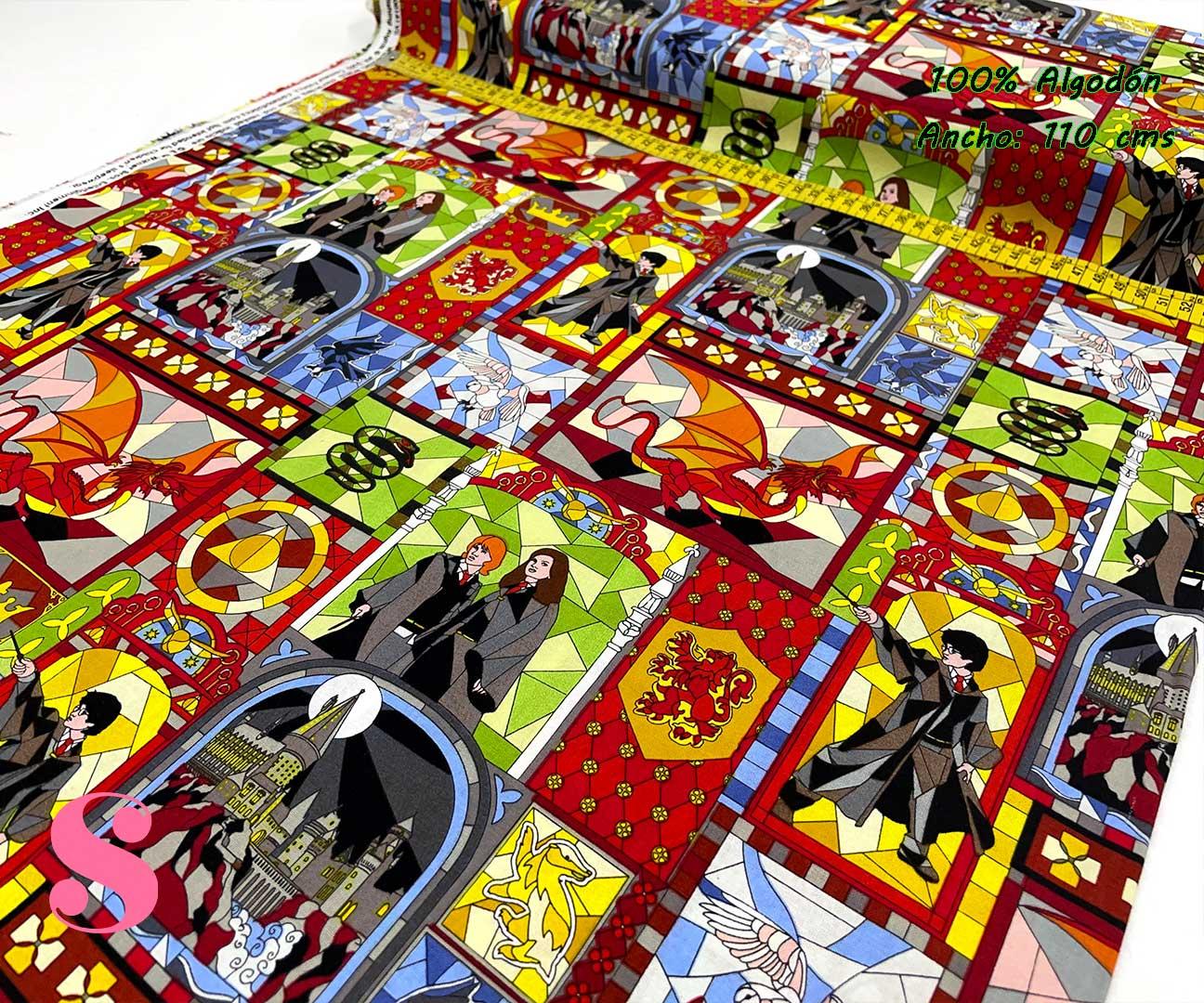 6-telas-frikis,telas-harry-potter-originales,telas-camelot,estampados-originales-harry-potter,Tejido Estampado Patch Americano Harry Potter Vidriera Personajes