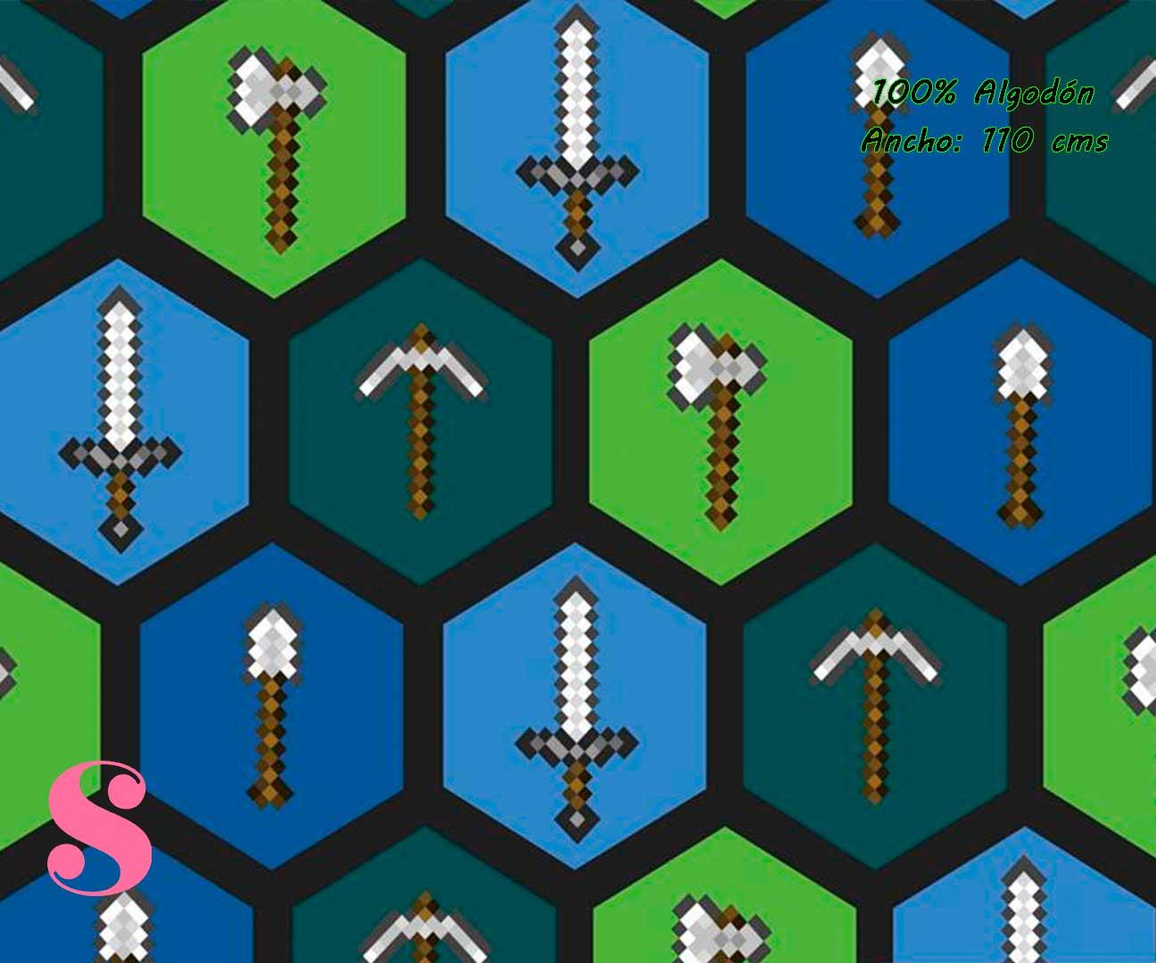 7-estampados-originales,telas-con-estampados-originales,telas-frikis,estampados-frikis,telas-super-mario,Tejido Estampado Patch Americano Minecraft Armas