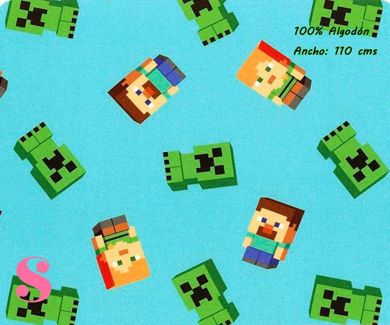 9-estampados-originales,telas-con-estampados-originales,telas-frikis,estampados-frikis,telas-super-mario,Tejido Estampado Patch Americano Minecraft fondo Celeste