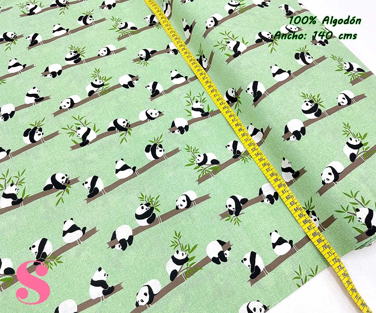 9-telas-estampadas-animales,telas-con-estampados-de-primavera,telas-con-estampados-osos-panda,telas-infantiles,Tejido Estampado Osos Panda