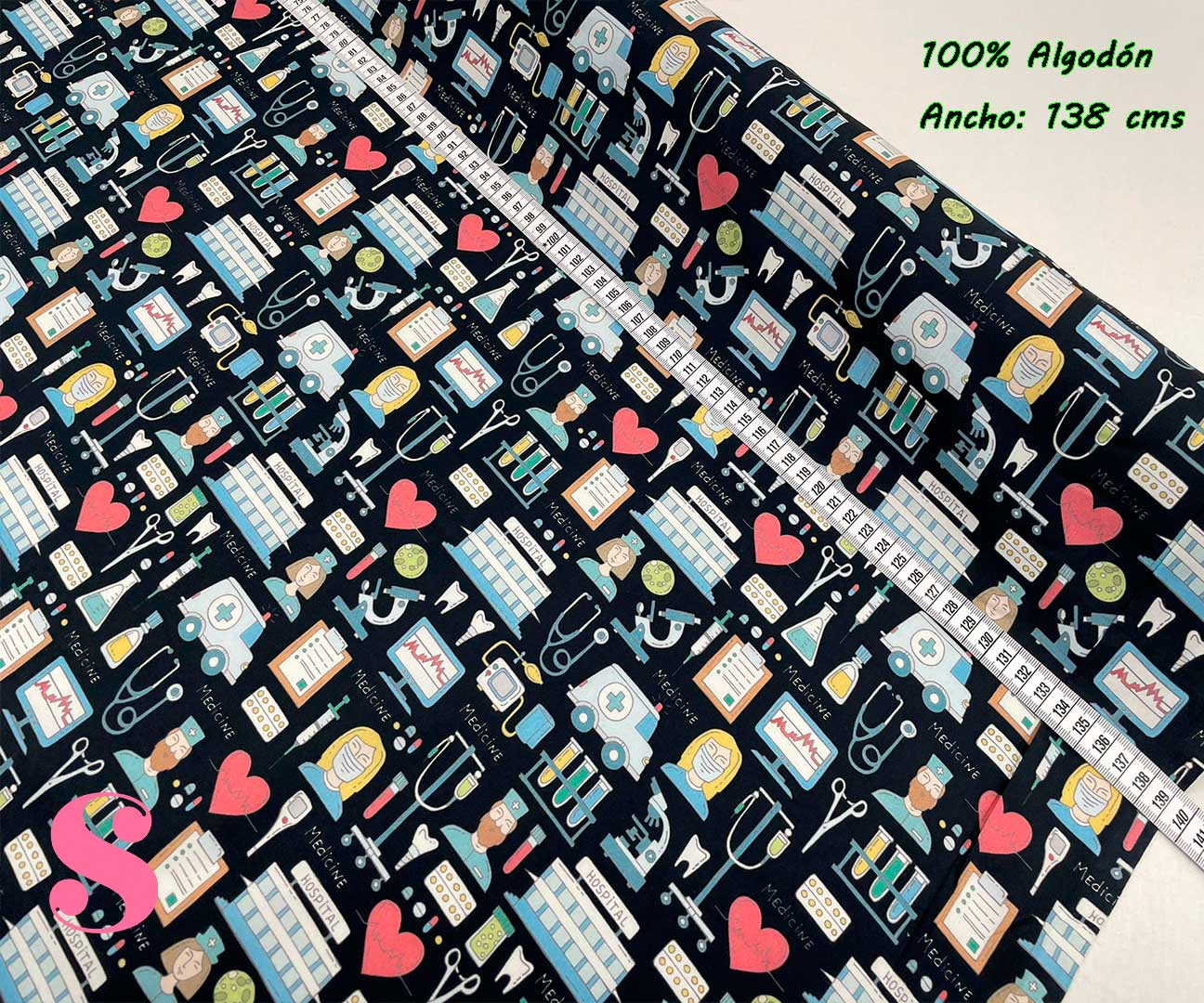 1-telas-de-algodón-estampadas,-telas-para-sanitarios,-telas-para-confeccionar-gorros-sanitarios,estampados-para-sanitarios,Tejido Estampado Medicina Hospital