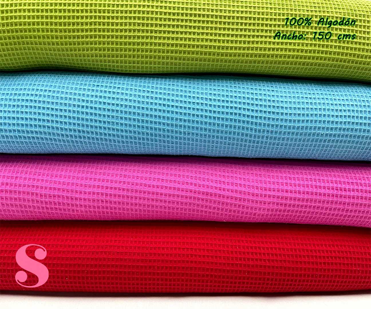 5-telas-de-algodón,-telas-de-bebe,-tejidos-suaves,tela de gofre,Wafel Cuadrados Fucsia,Wafel Cuadrados Estampado Arcoíris Celeste