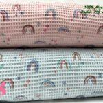 6-telas-de-algodón,-telas-de-bebe,-tejidos-suaves,tela gofre,Wafel Cuadrados Estampado Arcoíris Rosa,Wafel Cuadrados Estampado Arcoíris Celeste