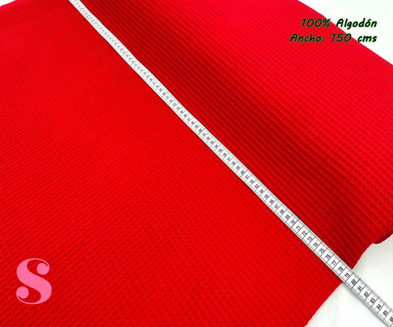 2-telas-de-algodón,-telas-de-bebe,-tejidos-suaves,tela gofre,Wafel Cuadrados Rojo