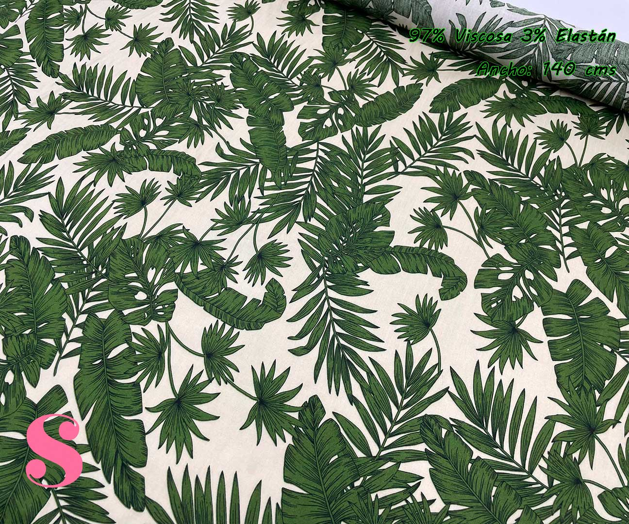 2-telas-de-verano,tejidos-de-verano,tejidos-fresquitos-estampados,telas-fresquitas-estampadas,telas-vaporosas-estampadas,Estampado Viscosa Palmas fondo Verde