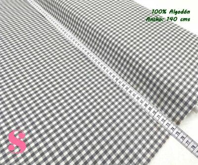 23-telas-de-algodón-100%,telas-infantiles,estampados-infantiles,telas-para-bebes,Vicky Algodón Cuadros Gris 5 Milímetros