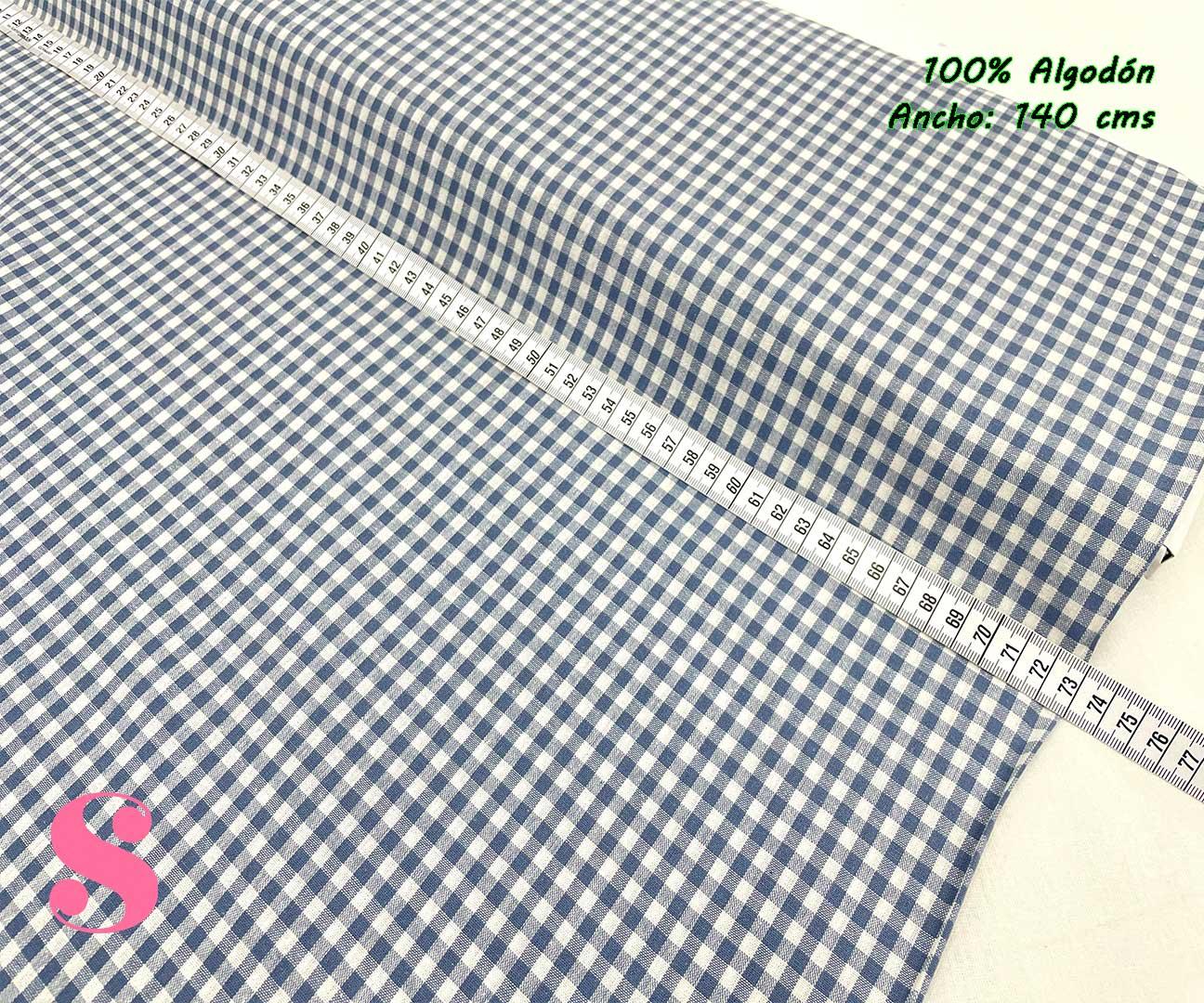 25-telas-de-algodón-100%,telas-infantiles,estampados-infantiles,telas-para-bebes,Vicky Algodón Cuadros Tejano 5 Milímetros