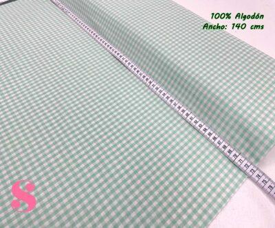 30-telas-de-algodón-100%,telas-infantiles,estampados-infantiles,telas-para-bebes,Vicky Algodón Cuadros Menta 5 Milímetros