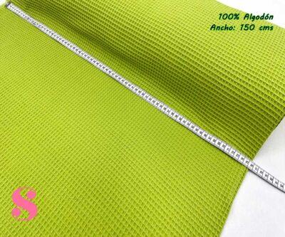 3-telas-de-algodón,-telas-de-bebe,-tejidos-suaves,tela gofre,Wafel Cuadrados Verde