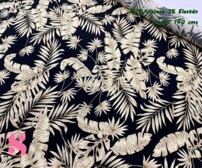 3-telas-de-verano,tejidos-de-verano,tejidos-fresquitos-estampados,telas-fresquitas-estampadas,telas-vaporosas-estampadas,Estampado Viscosa Palmas fondo Negro