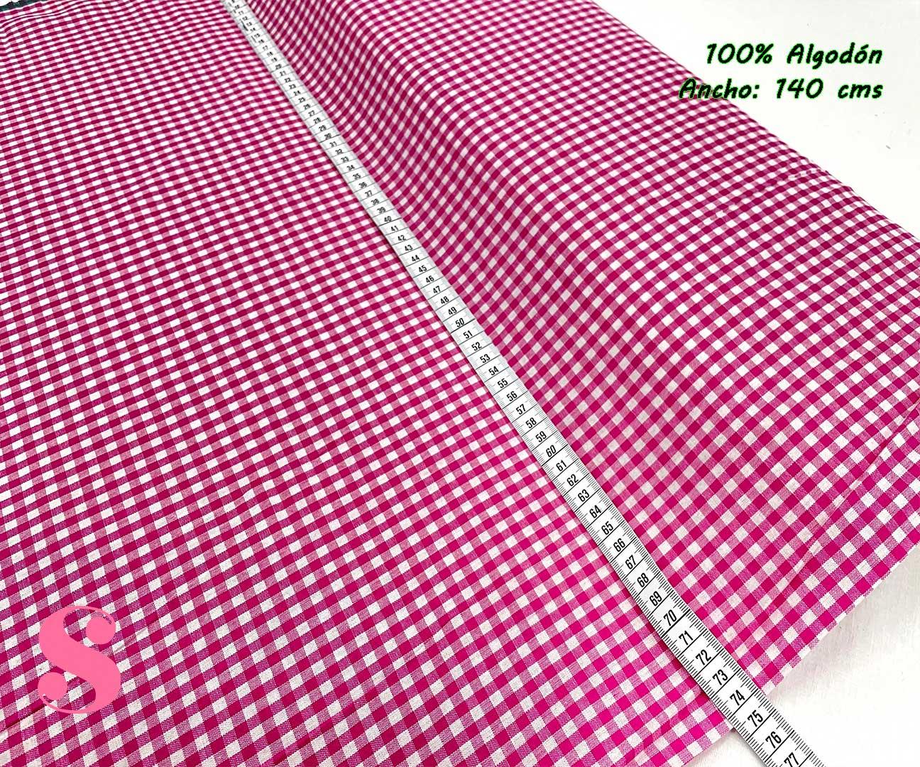 34-telas-de-algodón-100%,telas-infantiles,estampados-infantiles,telas-para-bebes,Vicky Algodón Cuadros Fucsia 5 Milímetros