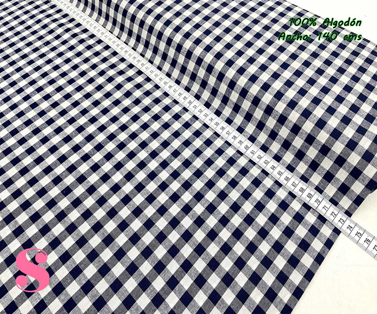 38-telas-de-algodón-100%,telas-infantiles,estampados-infantiles,telas-para-bebes,Vicky Algodón Cuadros Marino 1 Centímetro