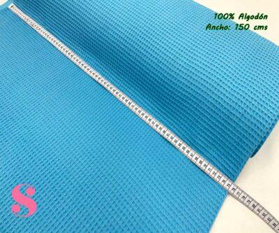 4-telas-de-algodón,-telas-de-bebe,-tejidos-suaves,telas gofre,Wafel Cuadrados Azul
