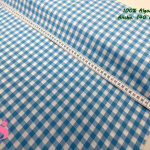 795 Vichy Algodón Cuadros Azul 1 Centímetro