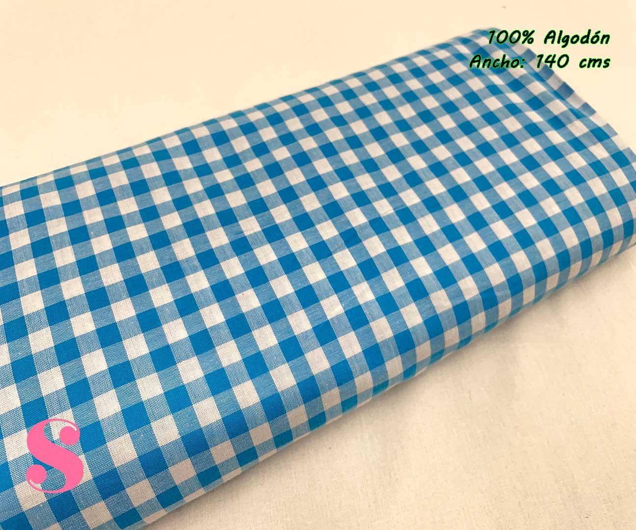 15-telas-de-algodón-100%,telas-infantiles,estampados-infantiles,telas-para-bebes,Vicky Algodón Cuadros Azul 1 Centímetro