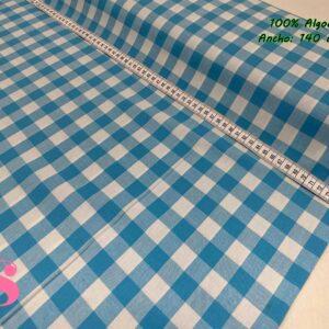 797 Vichy Algodón Cuadros Azul 1 Centímetro y Medio
