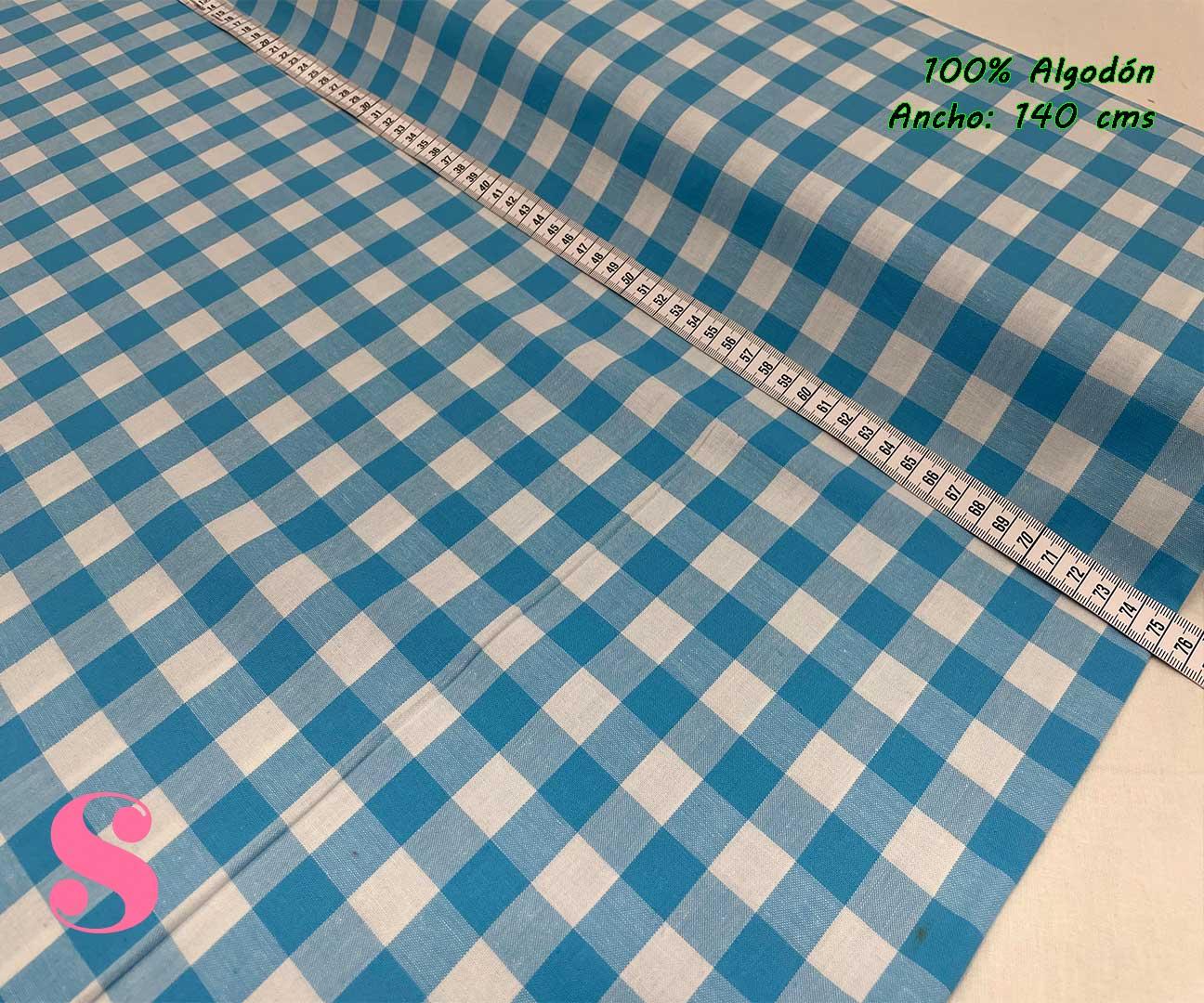 45-telas-de-algodón-100%,telas-infantiles,estampados-infantiles,telas-para-bebes,Vicky Algodón Cuadros Azul 1 Centímetro y Medio