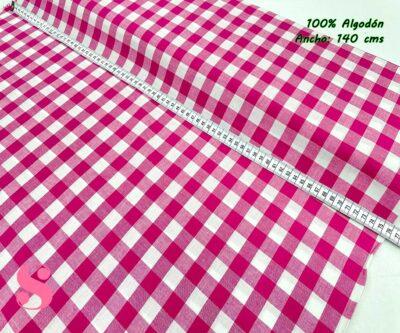 47-telas-de-algodón-100%,telas-infantiles,estampados-infantiles,telas-para-bebes,Vicky Algodón Cuadros Fucsia 1 Centímetro y Medio
