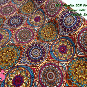 801 Loneta Estampada Mandalas Multicolor
