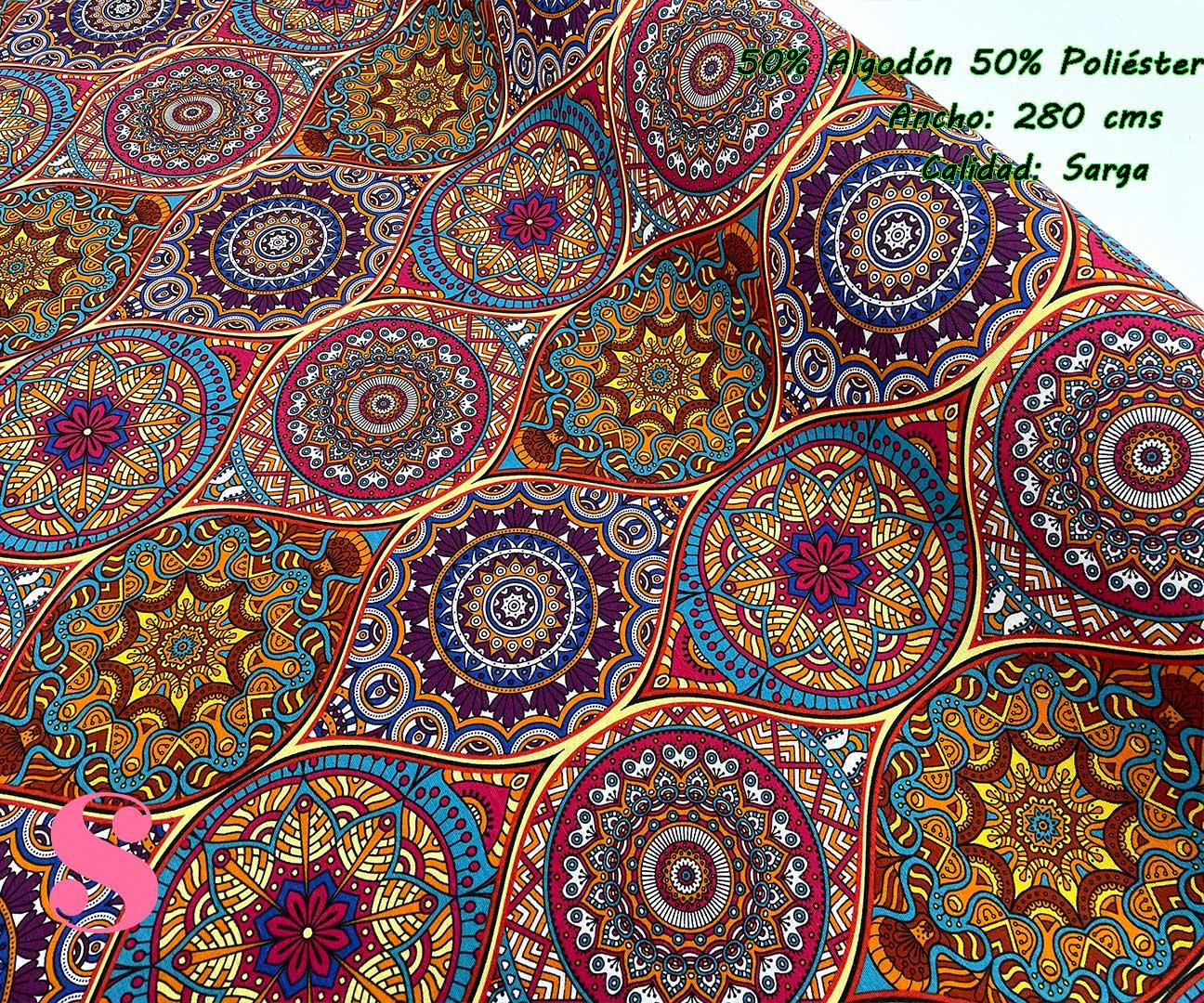 53-telas-de-algodón-100%,telas-de-moda,estampados-de-moda,telas-juveniles,estampados-juveniles,Loneta Estampada Mandalas Multicolor