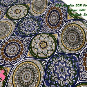 802 Loneta Estampada Mandalas Tonos Azules