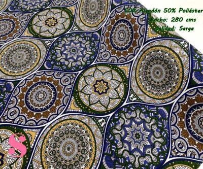 54-telas-de-algodón-100%,telas-de-moda,estampados-de-moda,telas-juveniles,estampados-juveniles,Loneta Estampada Mandalas Tonos Azules