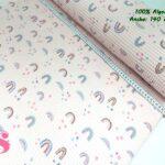 6-telas-de-algodón,-telas-de-bebe,-tejidos-suaves,tela gofre,Wafel Cuadrados Estampado Arcoíris Rosa