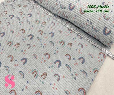 8-telas-de-algodón,-telas-de-bebe,-tejidos-suaves,Wafel Cuadrados Estampado Arcoíris Menta