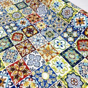 817 Loneta Estampado Azulejos Manises