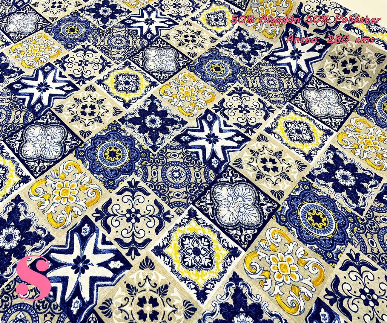 loneta estampado azulejos