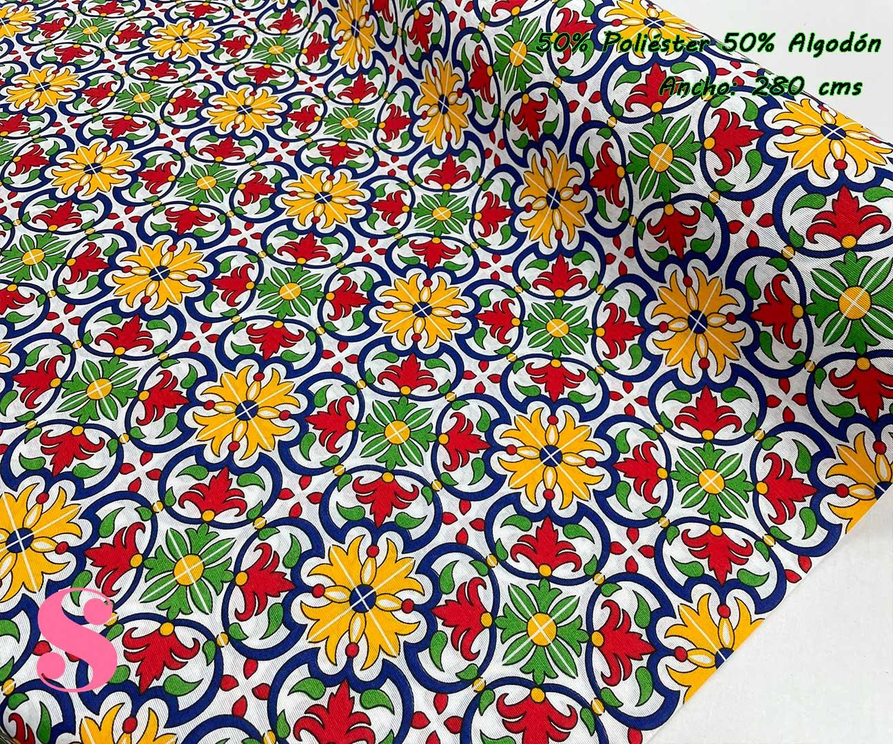 10-telas-por-metros,telas-de-exterior,tejidos-de-exterior,tejidos-por-metros,telas-para-jardín,Loneta Estampada Azulejo Portugués Oporto